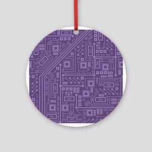 Purple Circuit Board Ornament (Round)