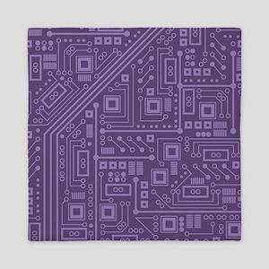 Purple Circuit Board Queen Duvet