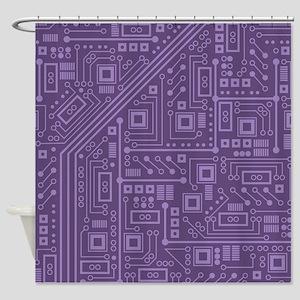 Purple Circuit Board Shower Curtain