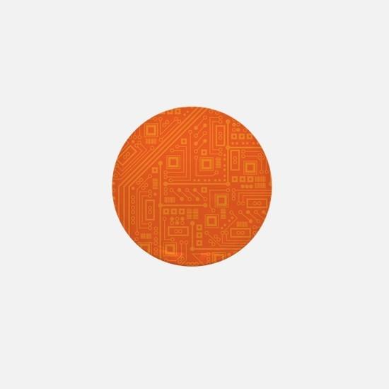 Orange Circuit Board Mini Button