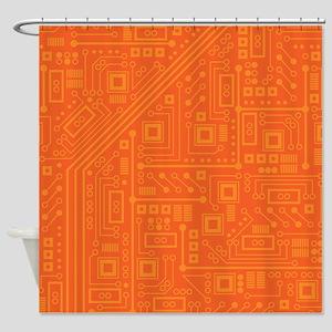 Orange Circuit Board Shower Curtain