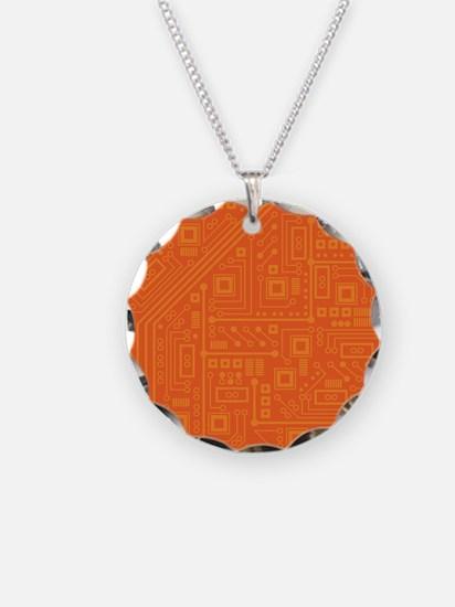 Orange Circuit Board Necklace