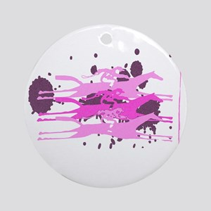 The Horse Race in Pink Round Ornament