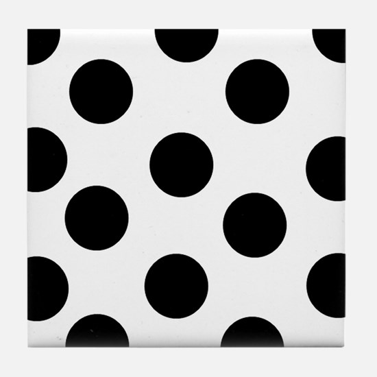 Black and White Polka Dots Tile Coaster