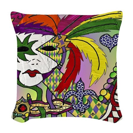 RetroMardiGrasMasks2-2Sqare Woven Throw Pillow