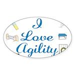 I Love Agility 2 Oval Sticker