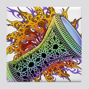 Rainbow Tribal Doumbek Tile Coaster