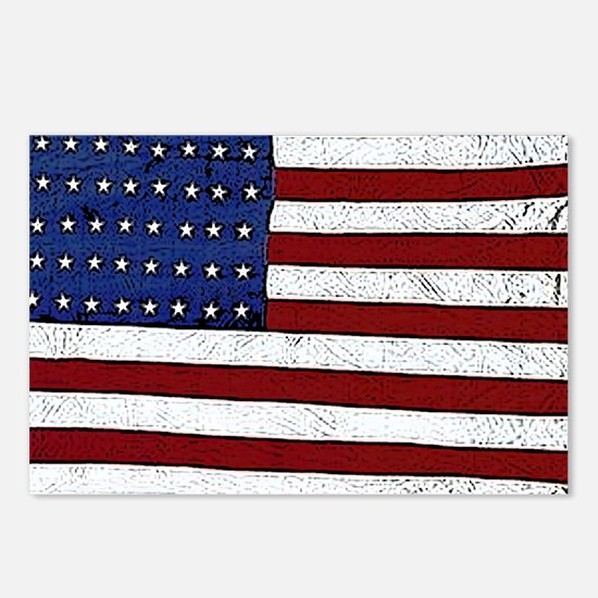 Patrotic flag poster note Postcards (Package of 8)