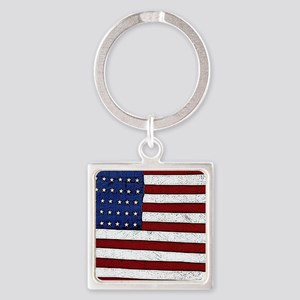 Patrotic flag poster note card Square Keychain