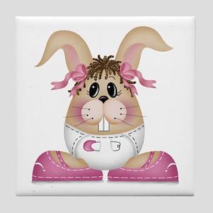 BABY GIRL BUNNY Tile Coaster