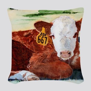 calfframed Woven Throw Pillow