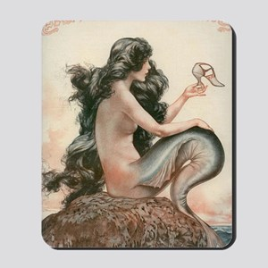 VINTAGE PARISIAN MERMAID SHOWER CURTAIN Mousepad