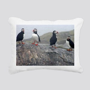 puffins on rock Rectangular Canvas Pillow