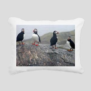 puffins on rock Rectangular Canvas Pillow