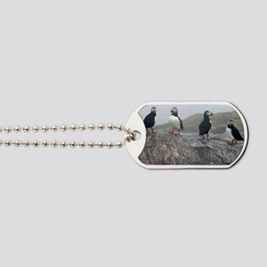 puffins on rock Dog Tags
