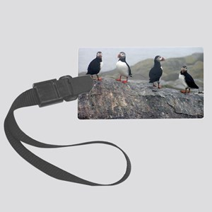 puffins on rock Large Luggage Tag