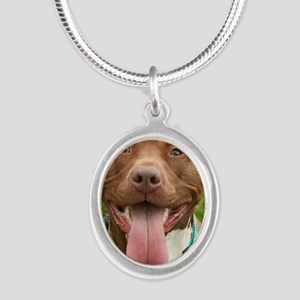 Pit Bull 13 Silver Oval Necklace