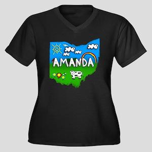 Amanda Women's Plus Size Dark V-Neck T-Shirt