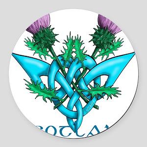 Thistles Scotland Round Car Magnet