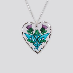 Thistles Scotland Necklace Heart Charm