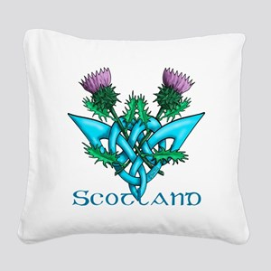 Thistles Scotland Square Canvas Pillow