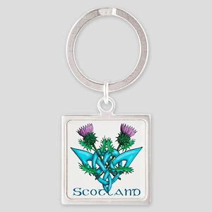Thistles Scotland Square Keychain