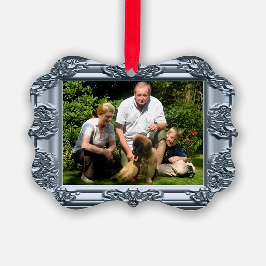Custom silver baroque framed photo Ornament