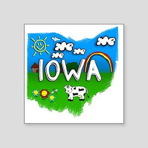 "Iowa Square Sticker 3"" x 3"""