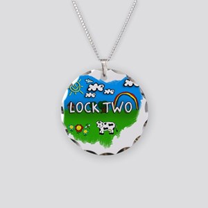 Lock Two Necklace Circle Charm
