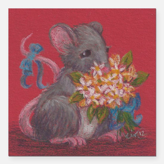 """Mouse with Flowers Square Car Magnet 3"""" x 3"""""""