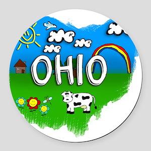 Ohio Round Car Magnet