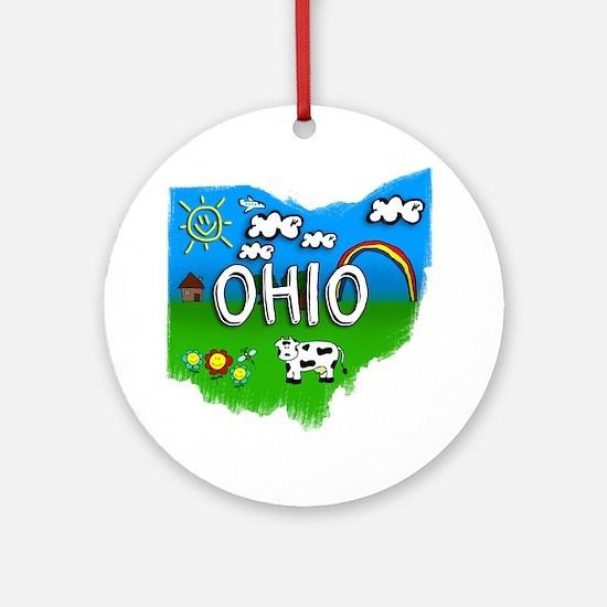 Ohio Round Ornament