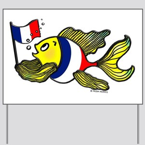 French Flag Fish FabSpark funny sparky Yard Sign