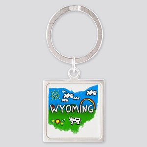 Wyoming Square Keychain