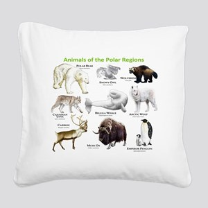 Animals of the Polar Regions Square Canvas Pillow