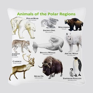 Animals of the Polar Regions Woven Throw Pillow
