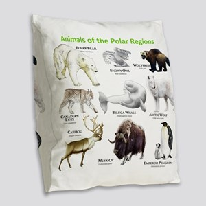 Animals of the Polar Regions Burlap Throw Pillow