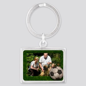 Your photo in a Soccer Frame Landscape Keychain