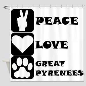 Peace Love Great Pyrenees Shower Curtain