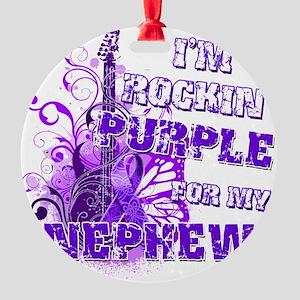 Im Rockin Purple for my Nephew Round Ornament