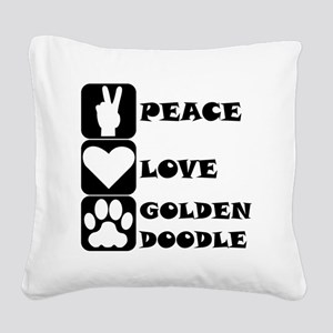 Peace Love Goldendoodle Square Canvas Pillow