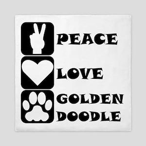 Peace Love Goldendoodle Queen Duvet