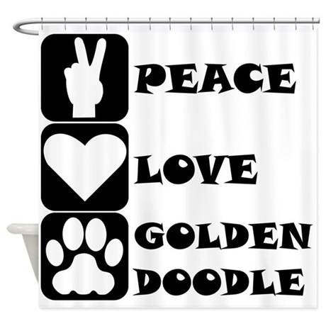 Peace Love Goldendoodle Shower Curtain