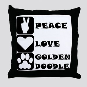 Peace Love Goldendoodle Throw Pillow