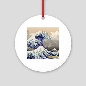 Hokusai_Great_WaveKing1 Round Ornament