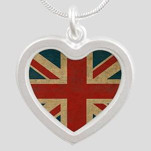 UnionJack9Blanket Silver Heart Necklace