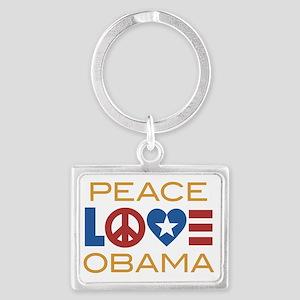 PeaceLoveObamaRWB Landscape Keychain