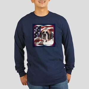 St Bernard US Flag Long Sleeve Dark T-Shirt