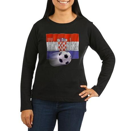 Soccer Flag Hrvatska Women's Long Sleeve Dark T-Sh