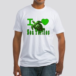 I LOVE ( Heart ) Sea Turtles  Fitted T-Shirt